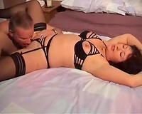 Perverted older wench in high heels gives head and then demands rough sex
