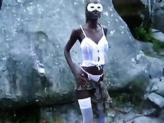 Masked ebony chick in white nylons shows off her large bumpers