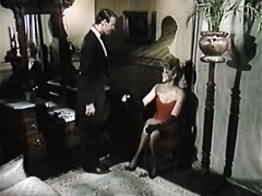 Beautiful cheating wife in red dress receives her puffy muff licked