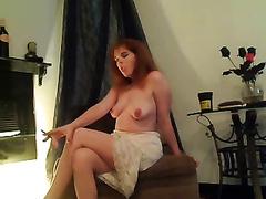 Curvy hot redhead milf Married slut is topless smokin' on livecam
