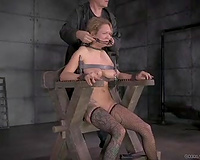 Poor bounded golden-haired milf suffers on the castigation chair