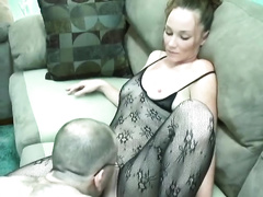 Sassy redhead harlot in lace underware receives team-fucked well