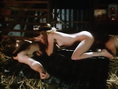 Blond head ratty tramp acquires double team loped at hayloft
