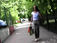 Kristina pees her panties in a public place and walks down the park
