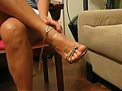 Tempting close up view of my Latina wife's glamorous bare feet