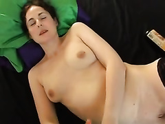 Hot white charming European housewife makes me cum on herself