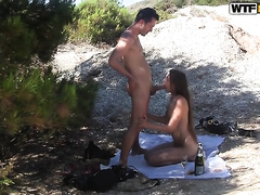 Amazing sex outdoors with a sizzling hawt dark brown black cock sluts