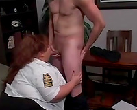 Extremely fat white lady sucks and tit copulates hard schlong of a slender man
