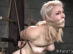Speechless blond black cock sluts fastened with ropes and prepared for tortures