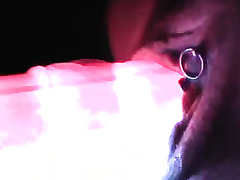 Fondled the love tunnel of my aged horny white wife with light sticks