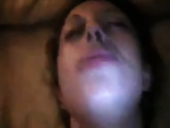 This whore can't assist but groan as I drill her trimmed pussy