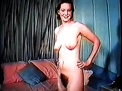 Redhead sexy milf girl receives undressed and shows her shaggy pussy