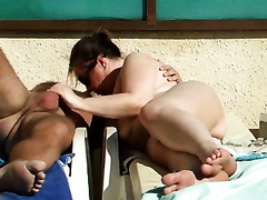 Horny fellow is finger fucking his wife's adorable bawdy cleft