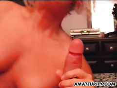 Amateur golden-haired girlfriend full oral-stimulation with spunk flow