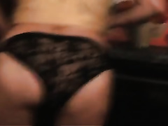 Finger fucking my wife's bushy pussy in the kitchen