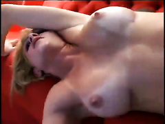 Sassy golden-haired playgirl acquires her muff hammered with large dark rod