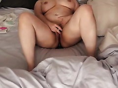 big beautiful woman thick white breasty horny white wife with a vibrator in her chocolate hole