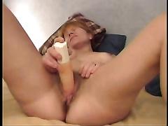 Mature white white bitch masturbates with a flashlight sex tool