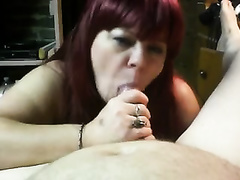 Mature dyed haired slutty wife gives me oral stimulation for facial jizz flow