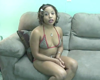 Flabby-boobed ebon whore takes her bikini off and shows her vagina