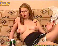 Amateur horny white wife strips and shows her natural tits and shaved vag