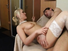 Tattooed golden-haired Jenya shows her good cock-riding skills
