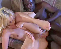 Gorgeous golden-haired playgirl fucked into ass by a dark dick