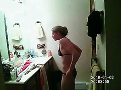 Skinny blonde titless girlfriend in the baths changing raiment