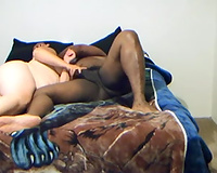 Nasty fat neighbor rubs my BBC and takes it in her throat
