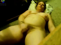 Chubby curly horny white wife shows herself in nature's garb on web camera afresh