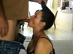 Majestic milf BBC slut in fishnet lascivious suit blows me on her knees
