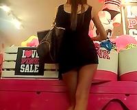 Super sexy mulatto hottie at the store in her super short petticoat