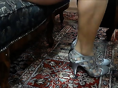 My bride demonstrates her marvelous pedicured feet