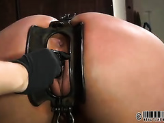 Bounded chubby girl pees and acquires an steel thing in her vagina