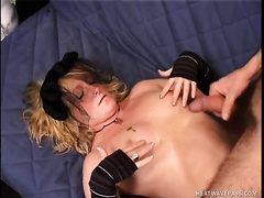 Time worn bitch acquires large load on her bust after hardcore fuck session