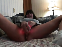 My aged cheating wife entertains herself by toying her slit