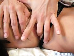 Trashy playgirl in high heels finger fucks her vagina like eager