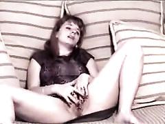 Mature white milf white women masturbates in the living room