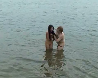 Shameless swingers are playing in the water after a wild fuckfest