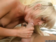 Horny doxy Valery blows and enjoys rear banging in Male+Male+Female episode