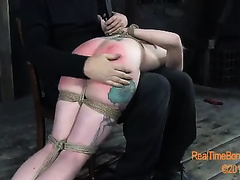 Tight arse of amoral blond bitch turned red from spanks