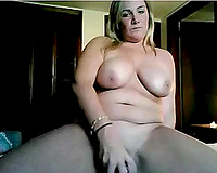Big tit mama permeates her fanny with her big plastic sex tool