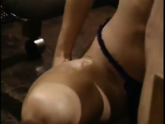 Her running moist vagina got gangbanged truly hard by her paramour at the office