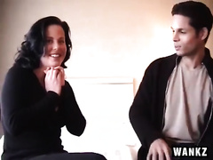 Snoopy brunette hair mother I'd like to fuck receives what this babe desire from younger man