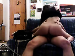 Horny brunette hair secretary enjoys jumping on my weiner