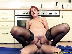 Mature hoe in stockings blows and receives screwed in the kitchen