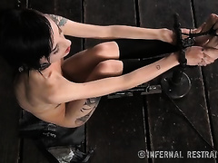 Sexy dark brown serf with small tits is punished in a barn by her dom