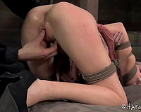 Tied beauty with fair hair receives fucked with a marital-device