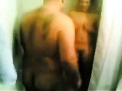 Serbian dirty slut wife got team-fucked hard in her cunt in the shower