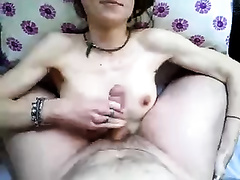 Skinny white wife is going to take a load of jizz on her love bubbles